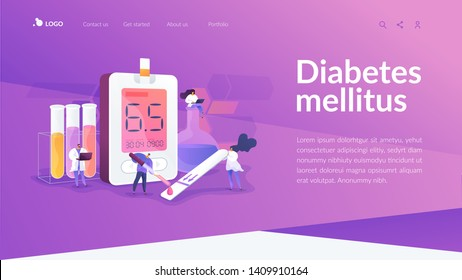 Medical laboratory research. Blood sample analysis. Tube lab testing. Disease diagnostics. Diabetes mellitus, Type 2 diabetes, insulin production concept. Website homepage header landing web page