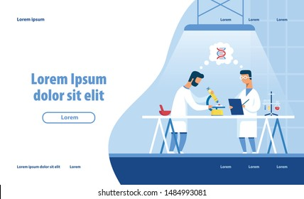 Medical Laboratory Research Design Landing Page. Cartoon Flat Male Scientists Characters Perform Scientific Genetic Experiment Looking at DNA Molecule under Microscope. Vector Illustration