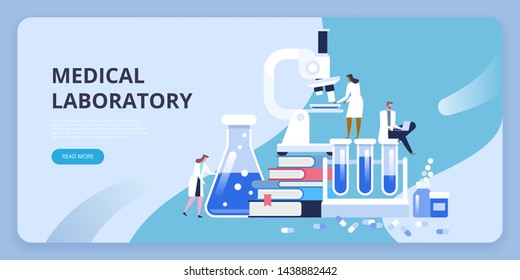 Medical laboratory research with microscope, science glass test tube, books and pills. Vector illustration concept can use for, landing page, template, ui, web, mobile app, poster, banner, flyer