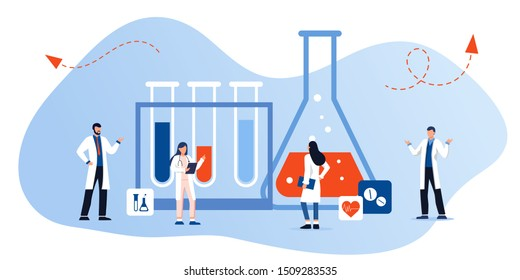 Medical laboratory research with science glass tube vector illustration concept. Laboratory diagnosis research. science equipment. medical consultation and support. experiments in science laboratory
