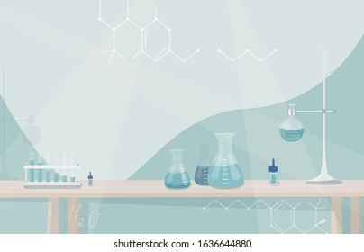 Medical laboratory, science research concept. Lab testing equipments on the table. Vector background in simple flat style with empty copy space at the centre for your text.