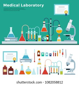 Medical Laboratory Workspace and Science Equipment. Science education, experiment, laboratory. Vector flat isolated illustration