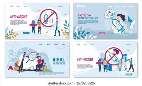 Medical Landing Page Flat Set for Online Service. Anti-Vaccine Protest Design. Viral Infection Protection by Immunization Layout. People and Doctors. Treatment and Healthcare. Vector Illustration
