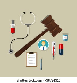 medical law health care wooden hammer gavel justice legal authority case verdict law-suit vector
