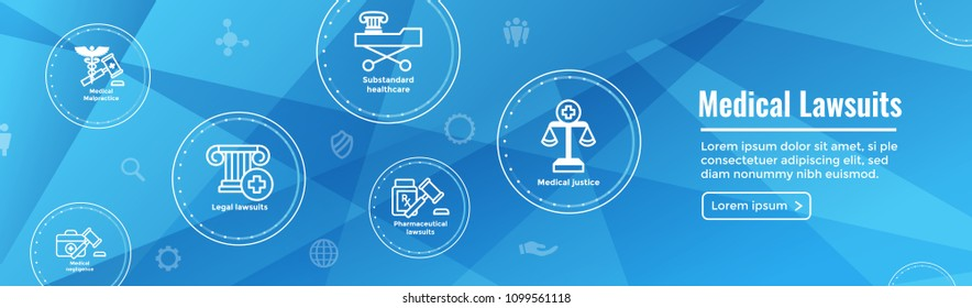 Medical Lawsuits - Pharmaceutical, negligence, and medical malpractice icon set