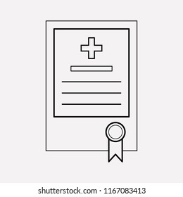 Medical license icon line element. Vector illustration of medical license icon line isolated on clean background for your web mobile app logo design.
