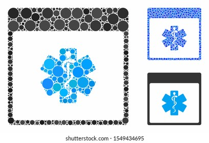 Medical life star calendar page mosaic of round dots in various sizes and color tinges, based on medical life star calendar page icon. Vector round dots are grouped into blue mosaic.