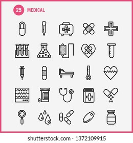 Medical Line Icon Pack For Designers And Developers. Icons Of Health, Healthcare, Medical, Bandage, Breakup, Broken Heart, Medical, Vector