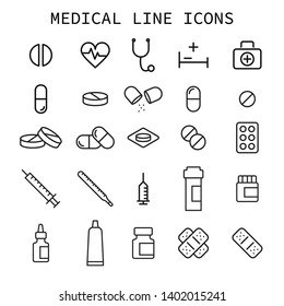 Medical line icons collection. Vector set.