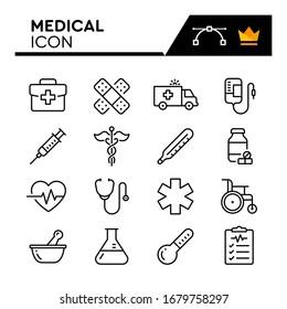 Medical line icons set. Editable Stroke