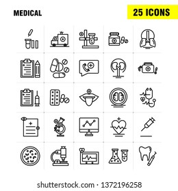 Medical  Line Icons Set For Infographics, Mobile UX\u002FUI Kit And Print Design. Include: File, Document, Letter, Health, Test Tube, Medical, Science, Collection Modern Infographic Logo and Pictogram. - V