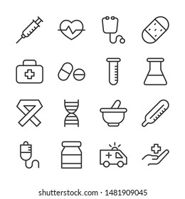Medical line icons set vector illustration. Contains such icon as capsule, infuse, pill, syringe and more. Editable stroke