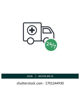 medical logistic delivery non stop service icon vector logo template design element