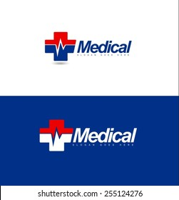 Medical Logo design. Hospital logo concept with medical cross and heart rate symbol.