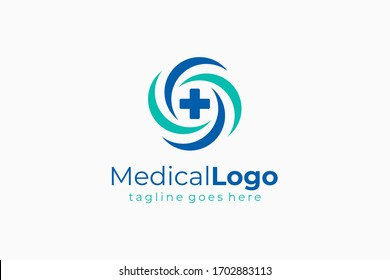 Medical Logo Health Icon. Abstract Circular Waves Letter S with Cross Sign inside. Flat Vector Logo Design Template Element.