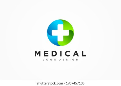 Medical Logo Healthcare Symbol. White Cross Sign Negative Space with Green Blue Circle Origami isolated on White Background. Flat Vector Logo Design Template Element.