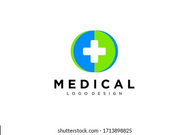 Medical Logo Healthcare Symbol. White Cross Sign Negative Space with Green Blue Medicine Icon Linked with Circle Globe Origami Style. Flat Vector Logo Design Template Element.
