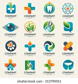 Medical logo icons set. Icons for medicine, healthcare, pharmacy, veterinarian, dentist. Unusual web icon and globe vector symbol. Graphic design easy editable for Your design. Modern logotype icon.