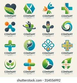Medical logo icons set. Icons for medicine, healthcare, pharmacy, veterinarian, dentist. Easy editable for Your design