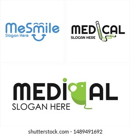 Medical logo with word mark icon smile and test tube helix DNA suitable for pharmaceutical kids hospital healthy
