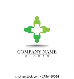 Medical logotype. Pharmacy colored plus cross in a soft shape. Tests, pharmaceutical sign with cardio scheme. Help and health care symbol. Branding identity with cross shape elements.