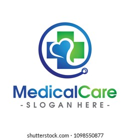 Medical and Love Health care Logo Vector