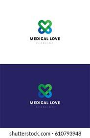 Medical love logo template.