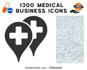 Medical Map Markers grey vector icon with 1300 clinic commercial pictograms. Set style is flat bicolor light blue and gray pictograms.