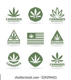 Medical marijuana and cannabis logo design elements. Vector illustration and logotype template