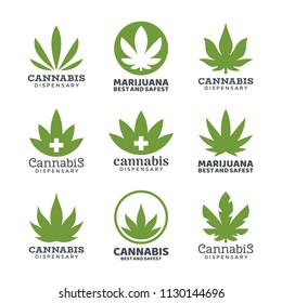 Medical marijuana and cannabis logo vector, green hemp leaves