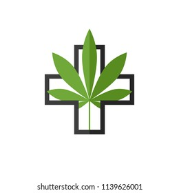 Medical marijuana concept with cannabis leaf and cross