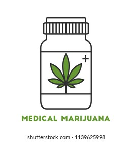 Medical marijuana concept with pill bottle in line art