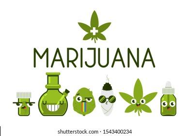 Medical marijuana funny characters vector cartoon set isolated on white background.