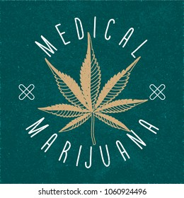Medical Marijuana Hand Drawn Logo Lettering with Seven Blades Strokes Style Cannabis Leaf and Crosses - Beige and White Elements on Turquoise Paper Background - Vector Doodle Graphic Design