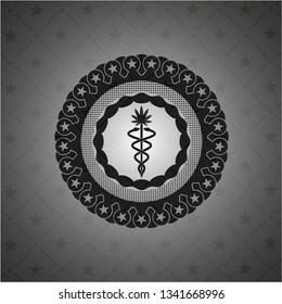 medical marijuana icon inside black badge