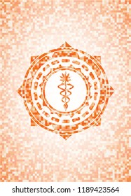medical marijuana icon inside orange mosaic emblem with background