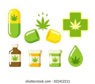 Medical marijuana icons: pills, Rx bottles and other medicinal cannabis symbols. Vector illustration.