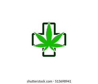 Medical Marijuana Logo Design Template Element