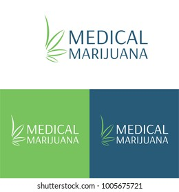Medical Marijuana Logo and Icon - Vector Illustration. A logo and icon of a minimal and abstract marijuana leaf.