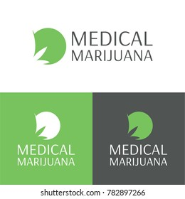 Medical Marijuana Logo and Icon - Vector Illustration. A logo and icon of a minimal and abstract marijuana leaf.