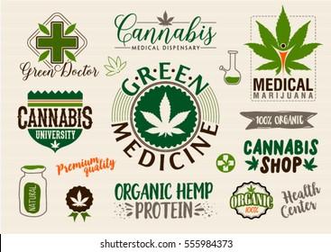 Medical marijuana product label and logo graphic template. Cannabis organic hemp. Green farm. Easy editable for Your design