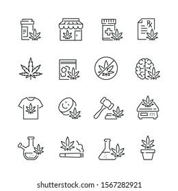 Medical marijuana related icons: thin vector icon set, black and white kit
