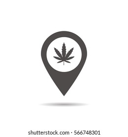 Medical marijuana store location icon. Drop shadow map pointer silhouette symbol. Weed pinpoint. Vector isolated illustration