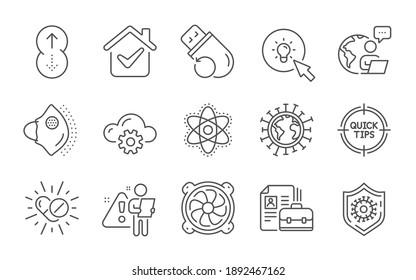 Medical mask, Chemistry atom and Coronavirus protection line icons set. Coronavirus, Energy and Computer fan signs. Vacancy, Flash memory and Cloud computing symbols. Line icons set. Vector