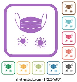 Medical mask and corona viruses simple icons in color rounded square frames on white background