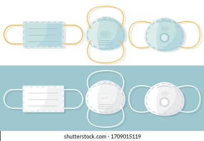 Medical mask N95. Protective respiratory mask. Virus and dust protection. Coronavirus. Flat cartoon design. Vector illustration EPS 10