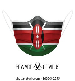 Medical Mask with National Flag of Kenya as Icon on White. Protective Mask Virus and Flu. Surgery Concept of Health Care Problems and Fight Novel Coronavirus (2019-nCoV) in Form of Kenyan flag