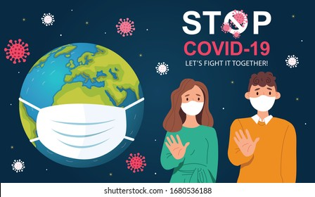 A medical mask protects against the spread of coronavirus COVID-19. Stop Coronavirus Covid-19 concept. Concept of coronavirus quarantine vector illustration. Family in medical face mask. Save the world