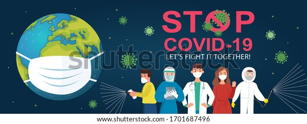 A medical mask protects against the spread of coronavirus COVID-19. Stop Coronavirus Covid-19 concept. Concept of coronavirus quarantine vector illustration. Health Care and Safety. Save the world.