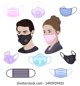 Medical mask set isolated on white, man and woman wearing medical anti virus mask, respiratory diseases covid-19 coronavirus protection and healthcare, vector illustration